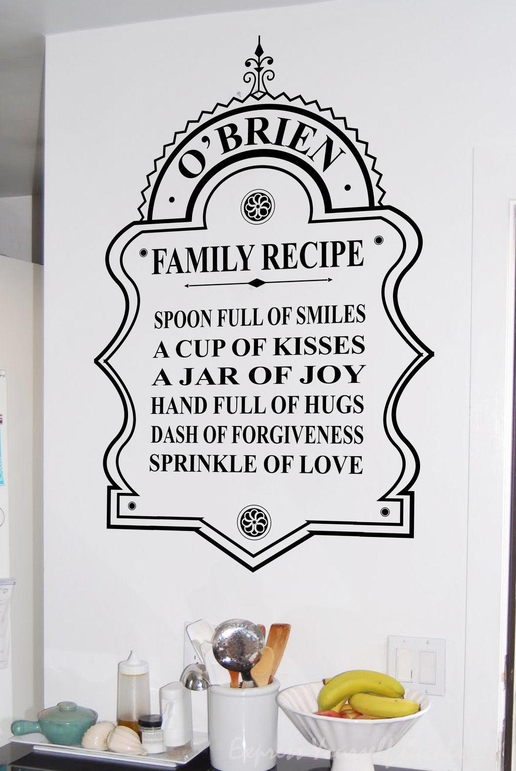 Kitchen Recipe Wall Decal Sticker Wall Decal Wall Art