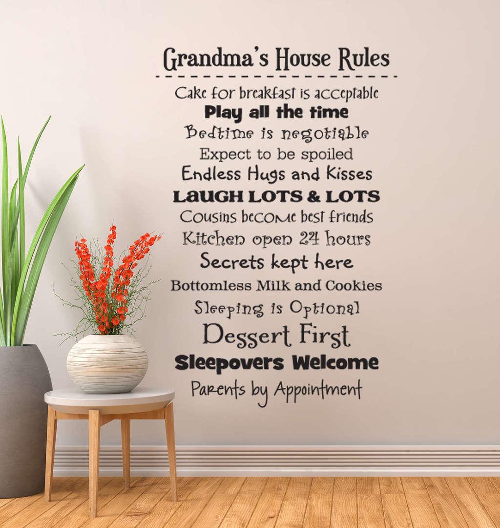 Personalised Wall Murals Grandmas House Rules Wall Decal Sticker Grandma Wall Decals