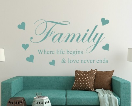 Family where life begins wall art decal sticker