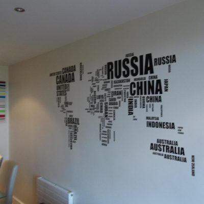 World Word Map wall decal sticker