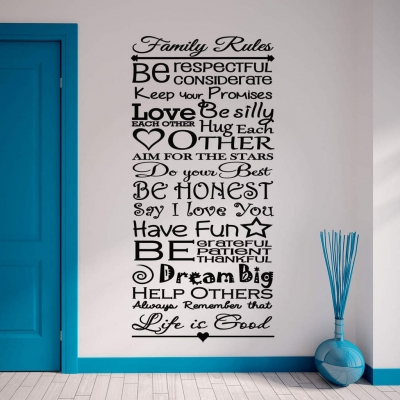 Family rules wall decal