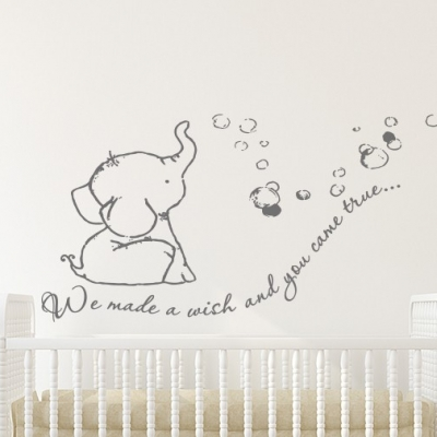 We made a wish baby elephant wall decal sticker, Baby Elephant wall decal, Baby Elephant wall sticker, Baby Elephant blowing bubbles wall decal sticker, Baby Elephant Nursery wall decal sticker, We made a wish and you can true wall decal quote sticker, wall decals Ireland, wall quote, baby elephant, wall decals, wall quote, wall sticker, wall decals ireland