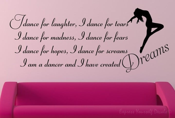 Dance for dreams wall decal sticker