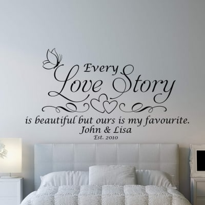 Love story personalised wall decal | Personalised wall decals