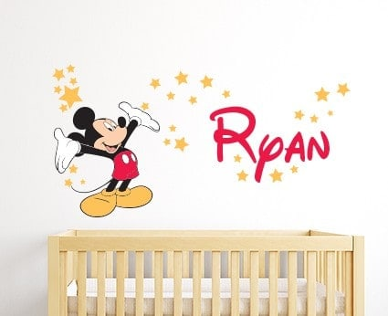 Perfect Personalised Mickey Mouse Wall Decal