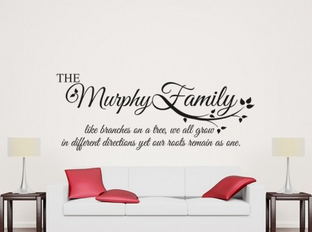 Family roots personalised wall art decal