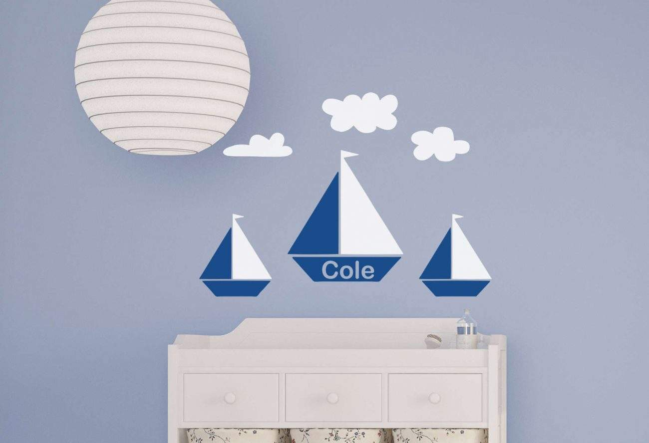 Sail boat personalised wall decal