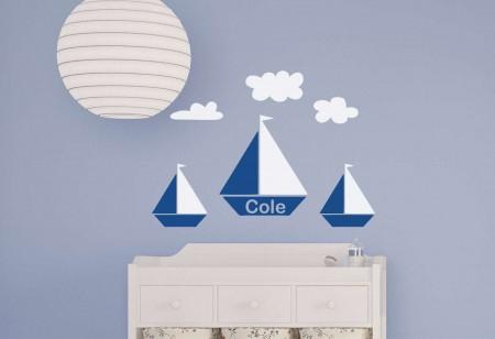Sail boat personalised wall decal