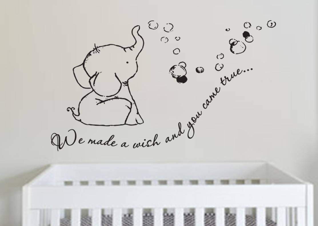 We Made A Wish Baby Elephant Wall Decal Sticker, Wall Decal, Wall Sticker.
