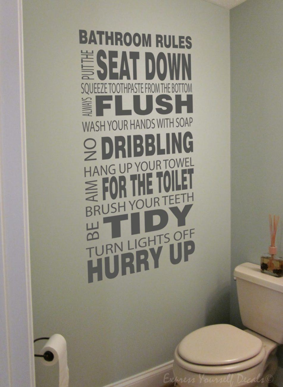Bathroom Rules wall decal sticker quote