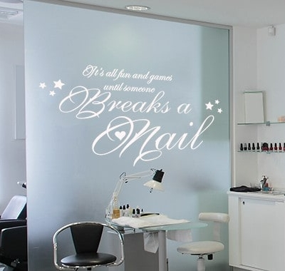 Breaks a nail wall decal sticker