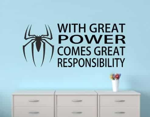 Spiderman quote wall decal sticker