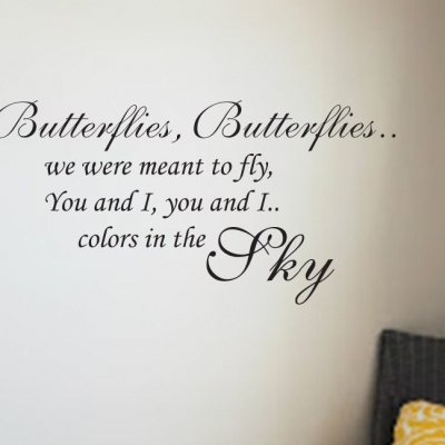 Butterflies in the sky wall decal