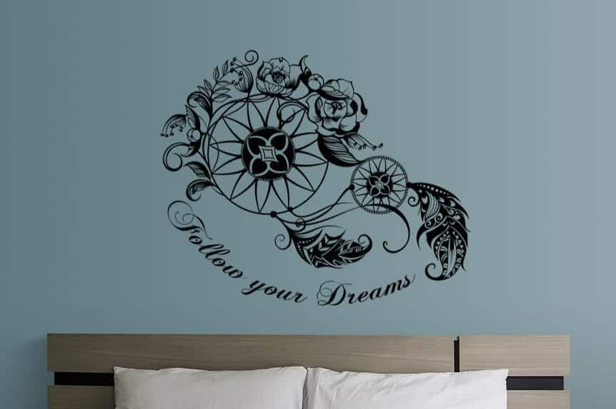 dream catcher follow your dreams wall decal sticker | wall decal