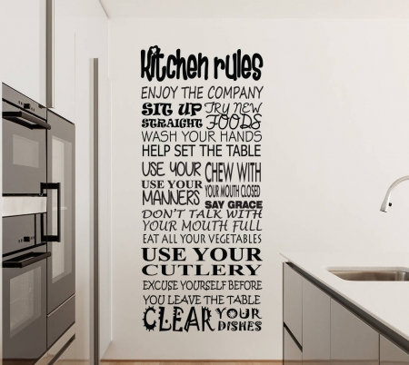 Kitchen rules wall decal sticker