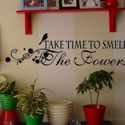 Smell the flowers wall decal sticker