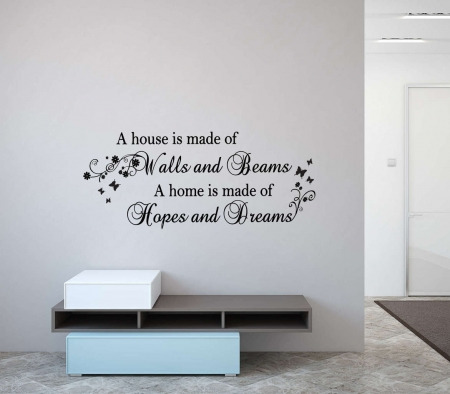 Wall and beams wall decal sticker 'A house is made of walls and beams a home is made of hopes and dreams'