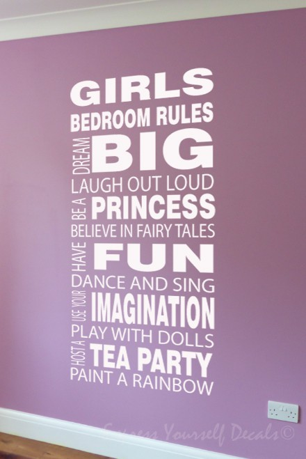 Girls Rules wall decal sticker