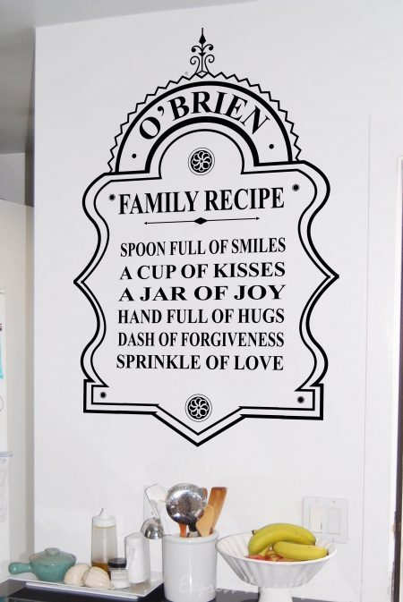 Family recipe - wall art decal