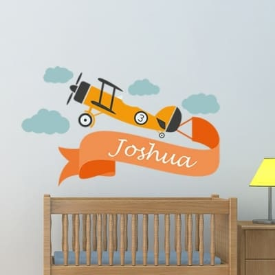 Retro Plane Name Wall Decal, Plane Name Wall sticker, Nursery wall decal sticker