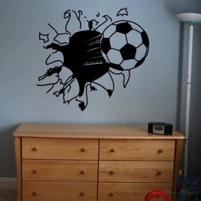 Football breaking wall wall decal sticker