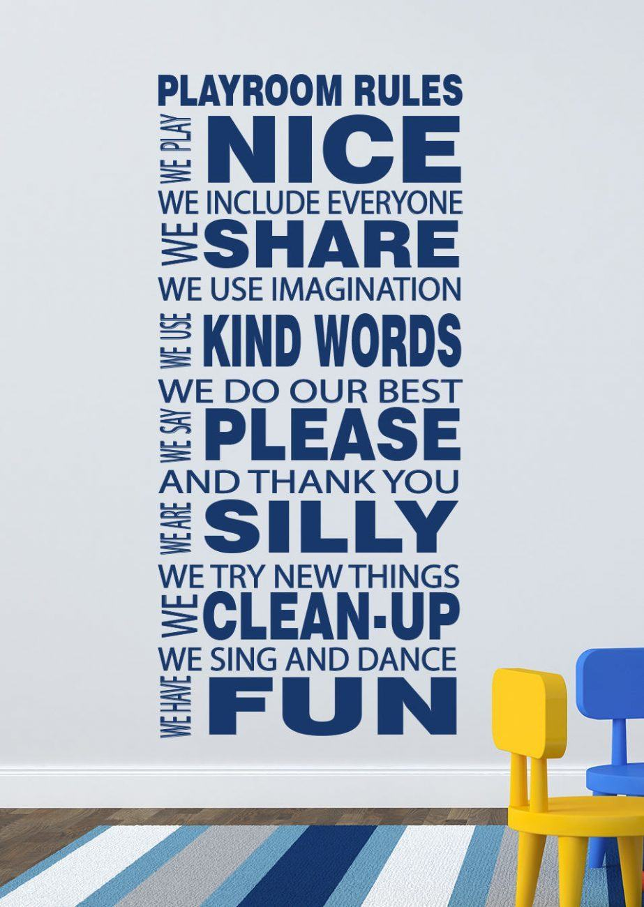 Playroom Rules wall decal sticker