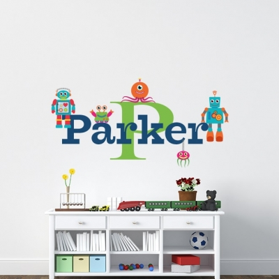 Robot Name Wall Decal, Robot Wall Decal - Nursery Name Decal - Name Wall Decal - Robot Theme Nursery - Robot Theme Nursery