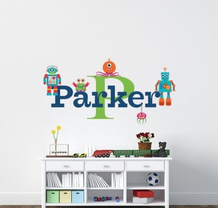 Robot Name Wall Decal, Robot Wall Decal - Nursery Name Decal - Name Wall Decal - Robot Theme Nursery - Robot Theme Nursery