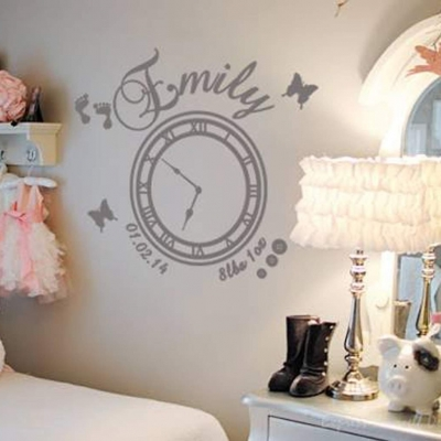 Date of birth memory clock (baby girl) - wall art decal