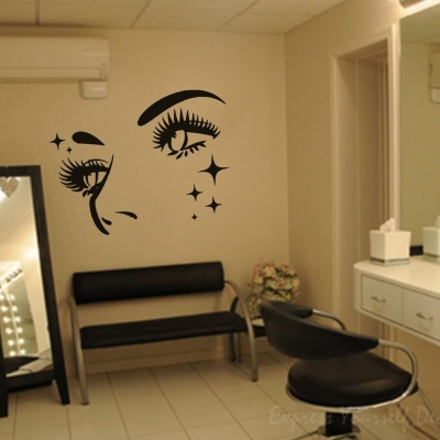 Beauty face stars wall art decal