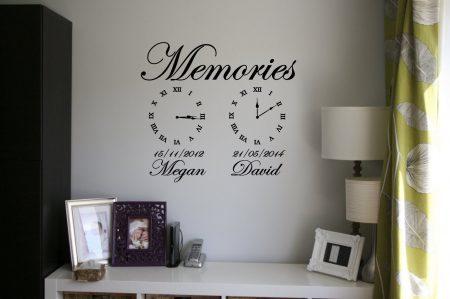 Memories wall art clock Date of birth memory clocks Memory clock wall decals