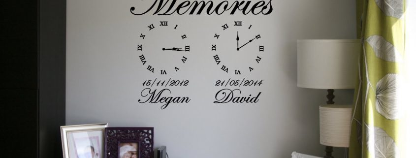 Memories wall art clock Date of birth memory clocks Memory clock wall decals