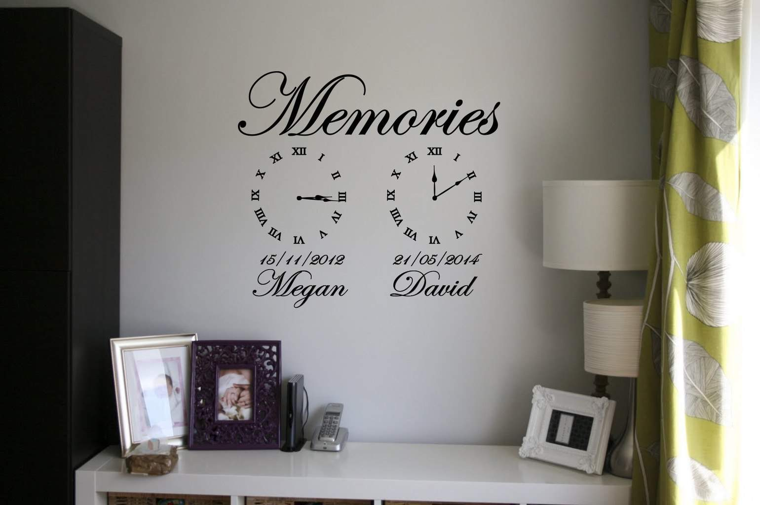 Memory clock wall decals wall decals clock wall decal for Clock wall mural