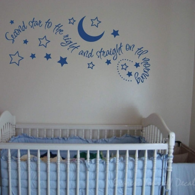 Second star to right wall decal sticker