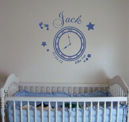 Memory clock (baby boy) - wall art decal