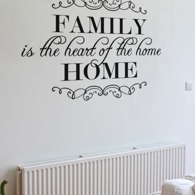 Family is the heart of the home wall decal