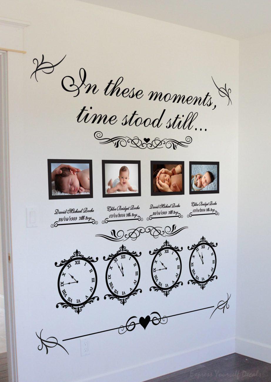 Memory clock (x4) Wedding date / Date of birth - wall art decal