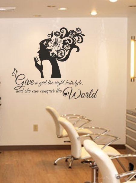 Right hairstyle wall decal sticker