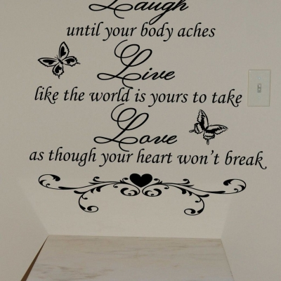 Laugh, Live, Love wall decal