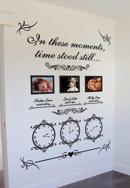 Memory clocks Wedding date / Date of birth - wall art decal