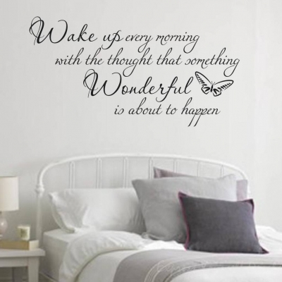 Wake up wall decal sticker