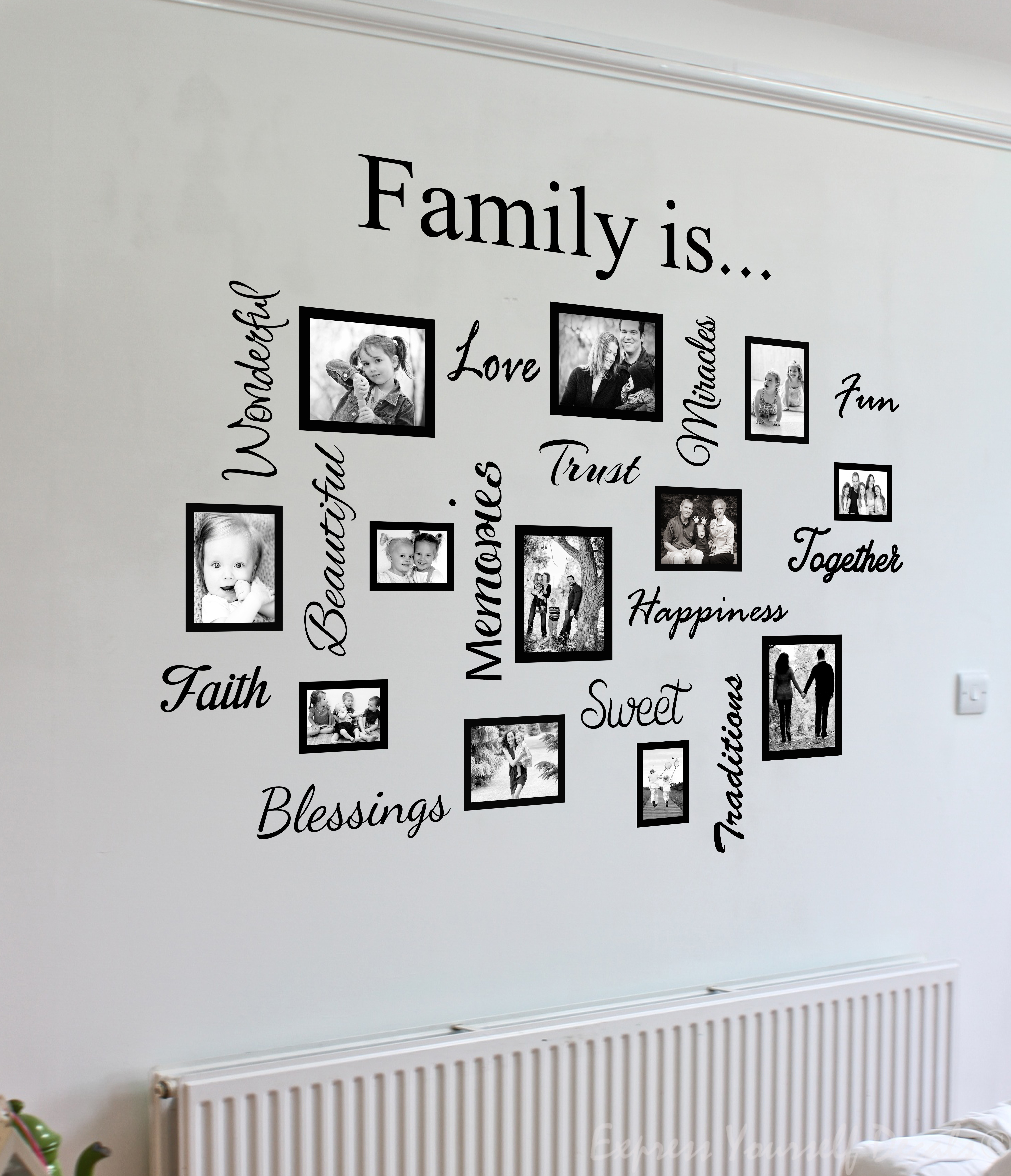Family quote words & photo frame collage - wall art decal