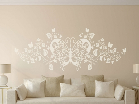 Butterfly floral wall art decal