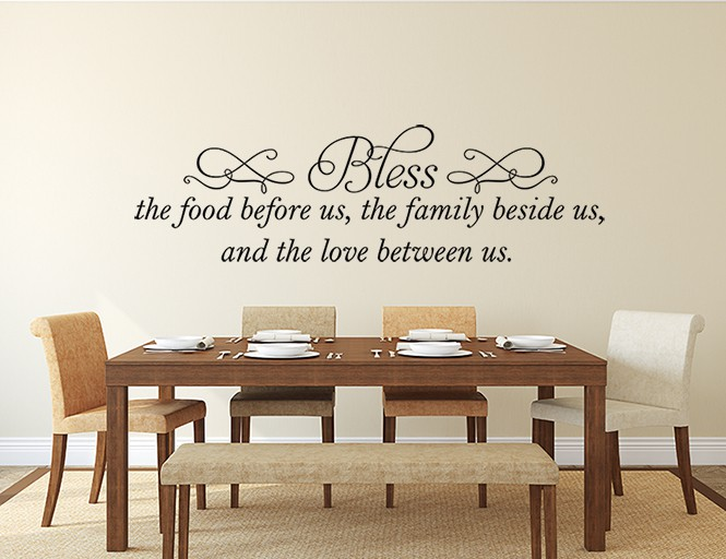 Bless the Food Wall Decal, Kitchen wall decal, kitchen wall sticker, kitchen wall quote, Kitchen Wall Decal Bless this Food Wall Decal Before Us