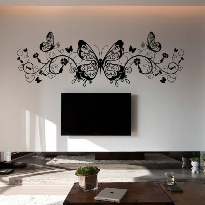 Butterfly floral vine wall decal sticker