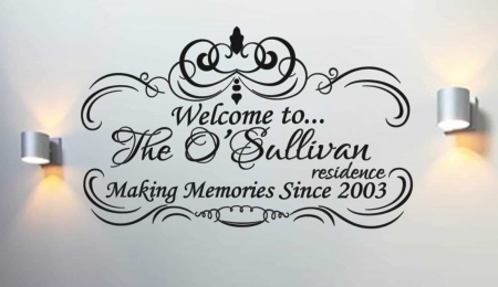 Welcome personalised wall art decal
