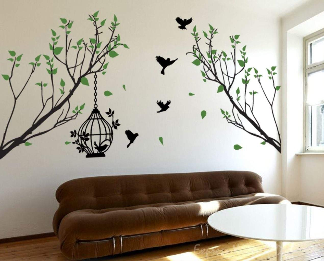 Bird cage tree wall decal