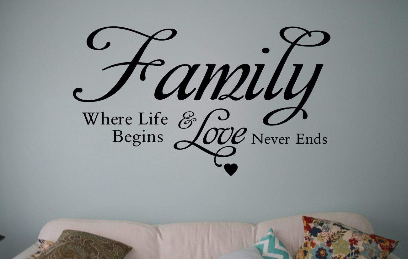 Family where life begins wall decal sticker