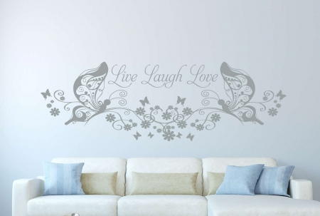Live Laugh Love butterfly floral wall decal | Live Laugh Love butterfly floral wall decal sticker
