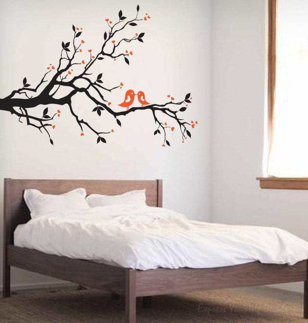 Love bird tree branch wall decal